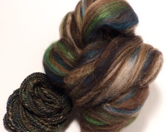 Serpentine  -( 2 oz.)  Custom blended top - Finn / YAK/ Tussah Silk/ Bronze Angelina ( 45/25/25/5)