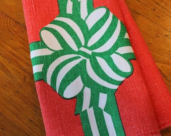 Vintage Linen Tea Dish Towel Printed Christmas Bow Fallani Cohn Red Green White