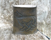 Celtic Knot Leather Cuff, Wolf, Carved Artisan Handcrafted - MEN's