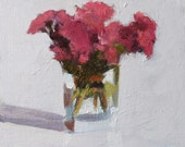 Floral Still Life Painting, Chrysanthemum Flower, Oil on flat canvas panel, 8x10 inch Canadian Art