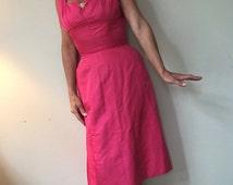Vintage Suzy Perette Pink Silk Marilyn Monroe Type Party Dress.  Beautiful Pink Vintage 1950s Dress