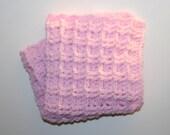 "Chunky Mini Doll Blanket Approx 15x15"" Girl Pink Security Blanket Afghan Handmade by CzechBeaderyShop"