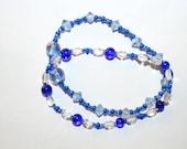 Blue Bracelets 2 Pc Set Mixed Glass Beaded Bracelets Women's Gift Jewelry Teen Accessories Handmade Jewelry by CzechBeaderyShop