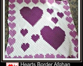 C2C Graph, Hearts Border Afghan, C2C Graph, & Word Chart