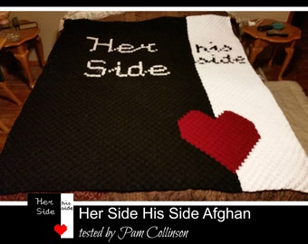 C2C Graph, Her Side His Side Afghan, C2C Graph,  Written Word Chart, her side his side graph, her side his side c2c, c2c afghan