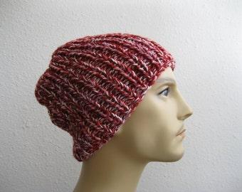 Red Knit Beanie - Ribbed Beanie - Slouchy Beanie - Beanie Hat - Knitted Slouchy Beanie - Winter Hats - Knit Beanie Hat - Slouchy Beanie Hat