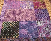 """14"""" x 14"""" Batiks Pillow COVER - 8  Squares of Mysterious Watery Purples Seahorse Jelly Fish and Tropical Turtles Ocean"""