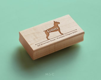 Boxer- Personalized Address Stamp (Clipped/Docked or Natural)