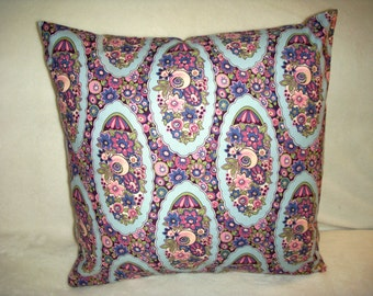 Roses Pillow Cover Pink Blue Purple Floral Romantic Flowers French Garden Farmhouse English Country Cottage
