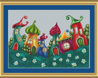 Enchanted Village Cross Stitch Pattern Beautiful Modern Design Instant Download PdF Pattern Cute Whimsical Town