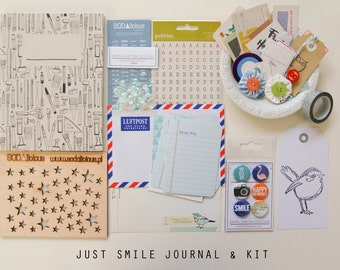Just Smile Mini Album / Art Journal and Scrapbook Kit