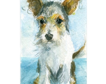Watercolor Puppy, Scruffy Pup Print, Scruffy Puppy Art, Puppy Print, JRT Pup Print, Mutt Print