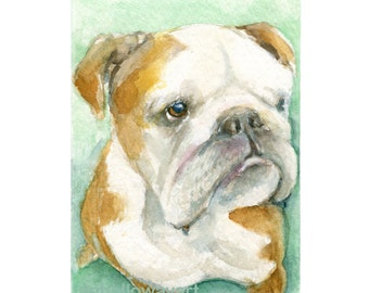 Watercolor Bulldog, Bulldog Print, Dog Art , Dog Print, Bulldog Art, Dog Portrait