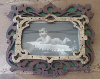 Art Nouveau Photo Frame Folk Art Carved Wood Filigree Design With Original Beautiful Baby Photo