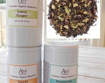 AFTER EIGHT Mint Chocolate Tea, Organic Loose Leaf Black Tea, After Dinner, Dessert Tea, Hand Blended, Caffeinated, 2oz Eco Gift Tin,