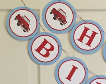 VINTAGE RED TRUCK Happy Birthday Party or Baby Shower Banner Red - Party Packs Available  Red Light Blue