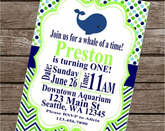 PREPPY WHALE Theme Birthday or Baby Shower Party Invitations Set of 12 {1 Dozen}   Blue Green