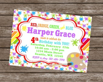 RAINBOW ART PARTY Happy Birthday Party or Baby Shower Invitations Set of 12 {1 Dozen}