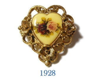 1928 heart brooch, 1980 heart pin with roses, scroll work border, ornate floral border, transferware flowers, pink and red roses