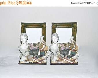 ON SALE Artist Bookends with Built-in Picture Frames, Pair Vintage