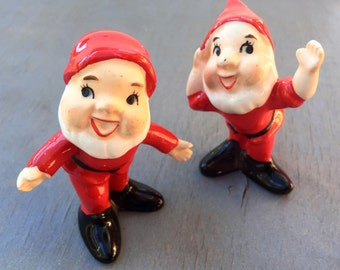 Vintage Ceramic Santa Pair of Norcrest Figurines Christmas Elves Gnomes Dwarves 1950s Kitsch