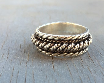 Mens Sterling Silver Ring Rope Ring Unique Wedding Band Vintage Mens Jewelry