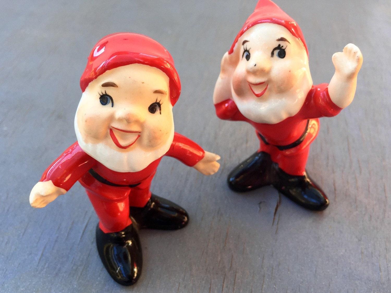 Vintage Ceramic Santa Pair Of Norcrest Figurines Christmas