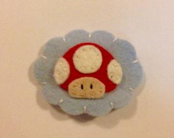 Nintendo mushrooms wool Felt no slip  hair clip