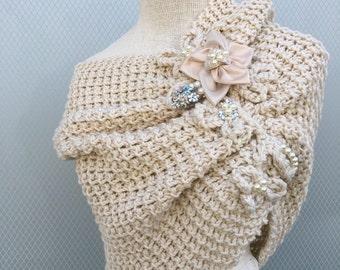 Wedding shawl, wedding accessories, bridal shawl, bridal accessories, capelet, wrap, bridesmaid shawl, womens shawl, handmade flower, gift