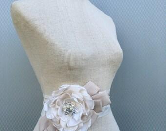 Champagne sash, bridal belt, handmade flowers sash, wedding accessories, bridal accessories, wedding gown, gift for her, flower sash, belt.