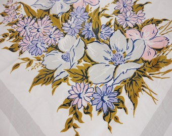 Vintage Simtex Tablecloth  White With Flowers