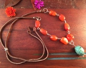 Chunky Magnesite Stone Pendant and Carnelian Nuggets Sterling Silver and Brown Suede Leather Necklace