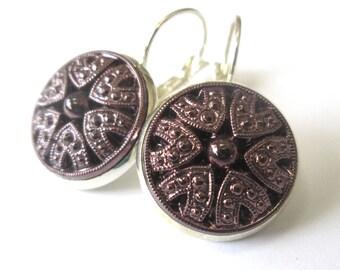RARE PURPLE glass vintage button earrings, Czech glass buttons, silver lever backs