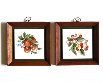 Ceramic Fruit  Tiles Cherries and Apples Wood Framed Napcoware Wall Art Mid Century  Farm Country Kitchen Decor