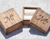 Personalized Set of Rustic Ring Bearer Boxes  ~ Keepsake~Ivory Burlap Ring Holder
