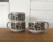 Retro Set of Three Ceramic Soup Mugs // Made in Japan // Stackable // Floral Pattern