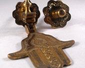 GORGEOUS Vintage Brass Hand Of Fatima Door Knocker Moroccan Mediterranean Middle East Hamsa Hamesh