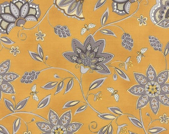 1/2 Yard - BEE CREATIVE - Gold Flowers & Bees - by Deb Strain for Moda Fabrics.