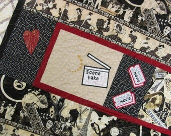 Moulin Rouge-Curtain Call-Paris Follies Quilt-Quilted in Music Notes-Red and Black Paris Follies Decor