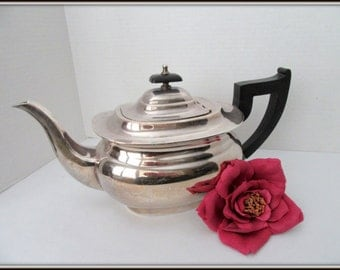 Sheffield Silver Teapot -  Art Deco- Cutlers Viners England- Bakelite Handle Teapot