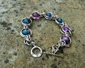 Purple & Blue Faceted Agate Chainmaille Bracelet