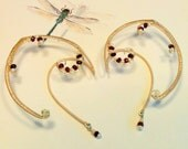 Garnet and pearl Ear Cuff Set -- Hand Wire Wrapped Ear Cuffs -- Elven Queen Ears -- Golden Elf or Fairy Ears