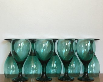 Vintage Green Wine Glasses Set of Eight 8 Mid Century Holiday Fall Barware Serving