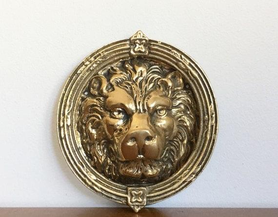 Large vintage brass lion head door knocker front door hardware - Large lion head door knocker ...