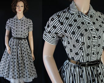 50s Pat Hartly Dress, Shirtwaist, Rockabilly, Black White Stripes. Pin Up