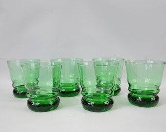6 Emerald  Green Cocktail Glasses Tumblers Drinking Glasses Rocks Cocktail