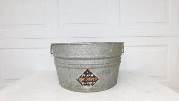 Galvanized Tub Wash Tub Belknap Bucket Metal Handle Galvanized Metal ...