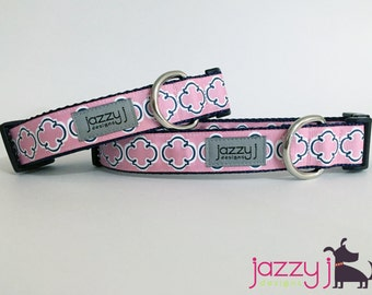 Pink and Navy Blue Nautical Bristol Tile Dog Collar