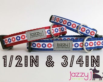Circle Stars Red, White, and Blue Patriotic Dog Collar