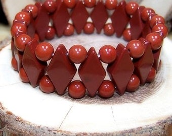 Red Jasper stretch bracelet - One size fits most - Genuine natural stone -Gifts for her - Gifts for him
